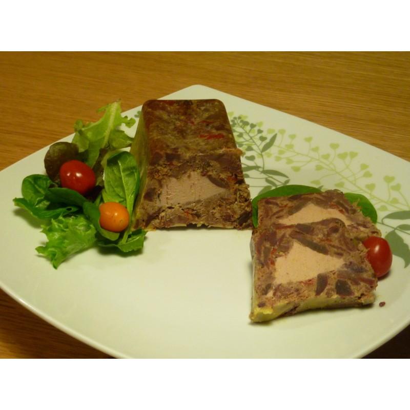 Terrine de canard aux péquillos et foie gras (450 grs )